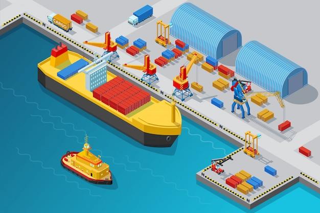 Porto marítimo isométrico e modelo de doca Vetor Premium