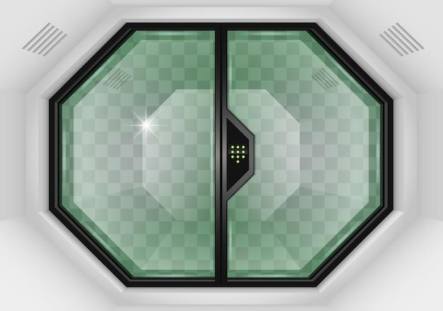 Portões de correr de vidro Vetor Premium
