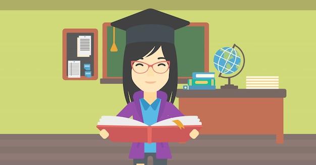 Pós-graduação com livro em ilustração vetorial de mãos. Vetor Premium