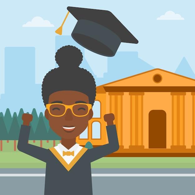 Pós-graduação vomitando o chapéu. Vetor Premium
