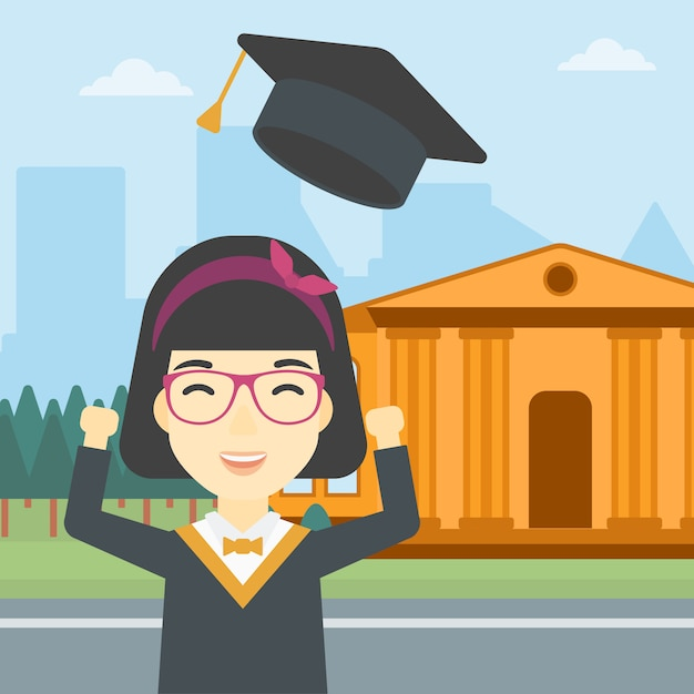 Pós-graduação vomitando sua ilustração vetorial de chapéu. Vetor Premium