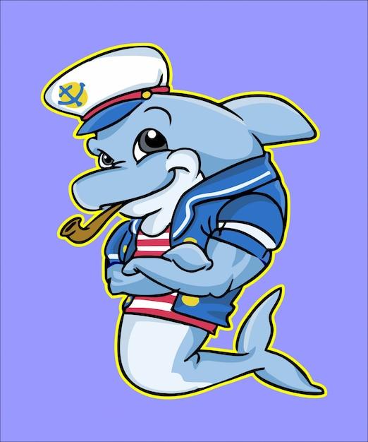 Posando de mascote de golfinho marinheiro Vetor Premium