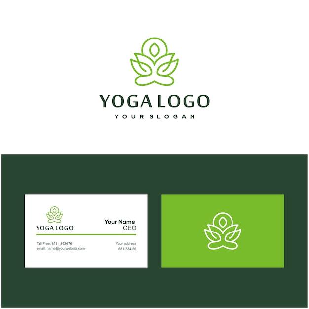 Pose de ioga logotipo e cartão de flor de lótus Vetor Premium