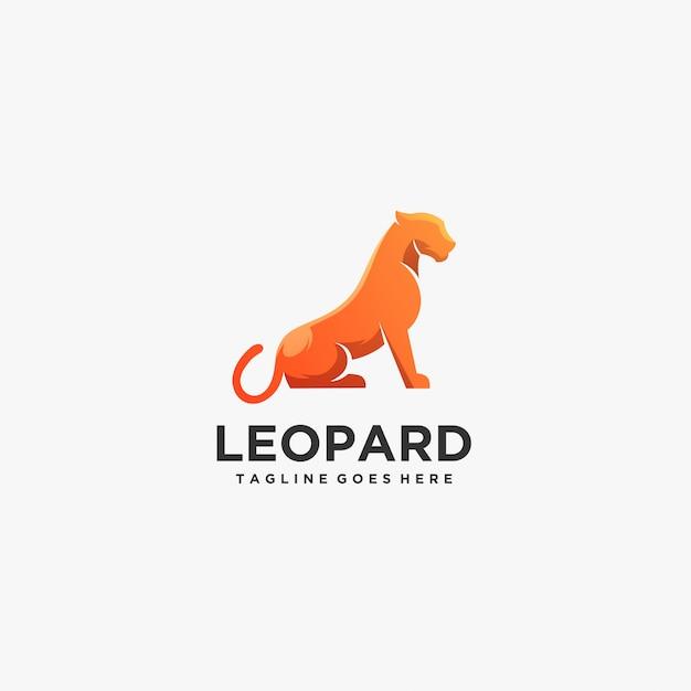 Pose de leopardo logotipo. Vetor Premium