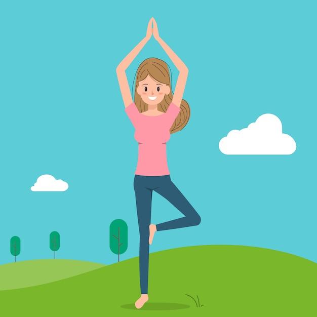 Pose de personagem de ioga feminina. Vetor Premium