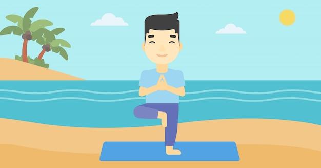 Pose praticando da árvore da ioga do homem na praia. Vetor Premium