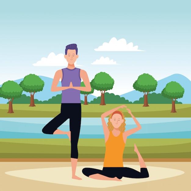 Poses de ioga de casal Vetor Premium