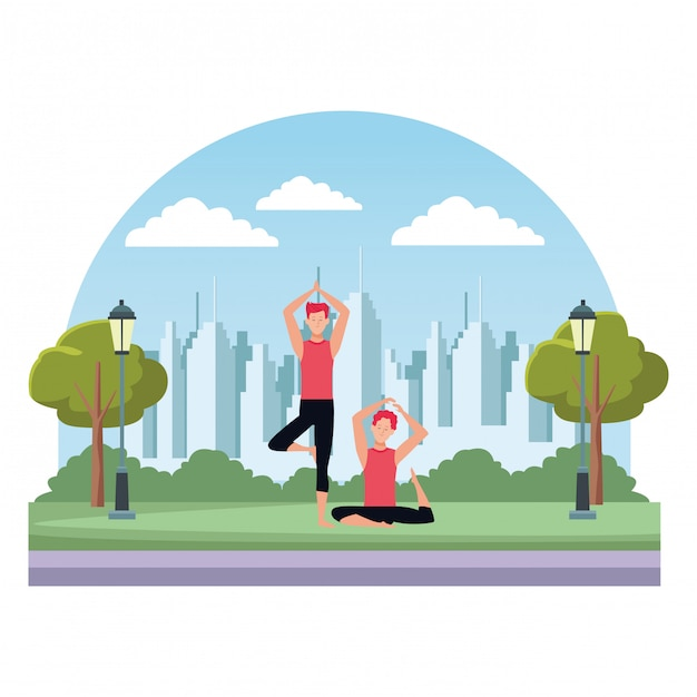 Poses de ioga de homens Vetor Premium