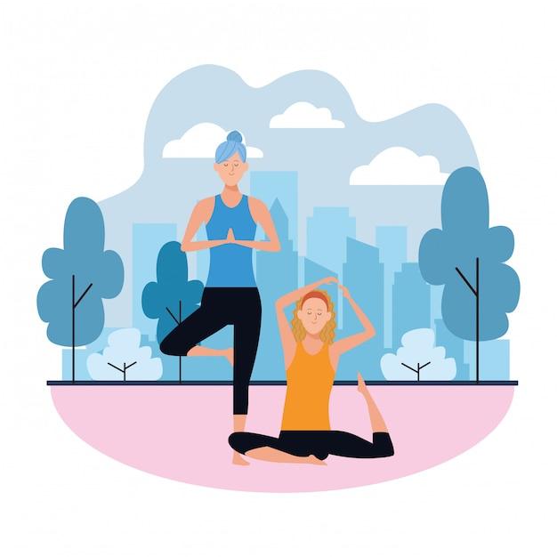 Poses de ioga de mulheres Vetor Premium