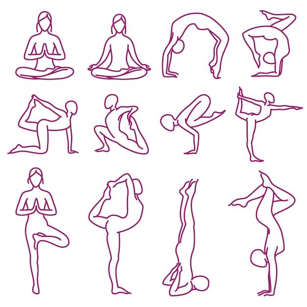 Poses de ioga vector silhouettes Vetor Premium