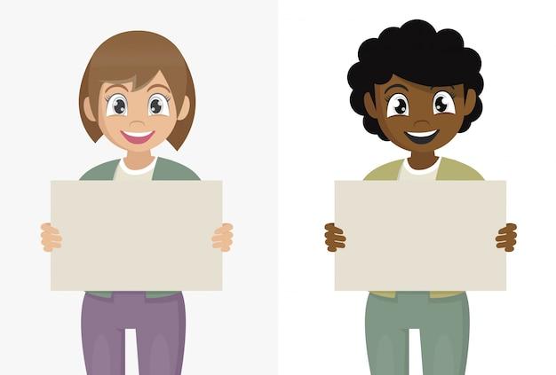 Poses de personagem de desenho animado, garota africana tem nas mãos um cartaz em branco sem texto. jovem piscando Vetor Premium