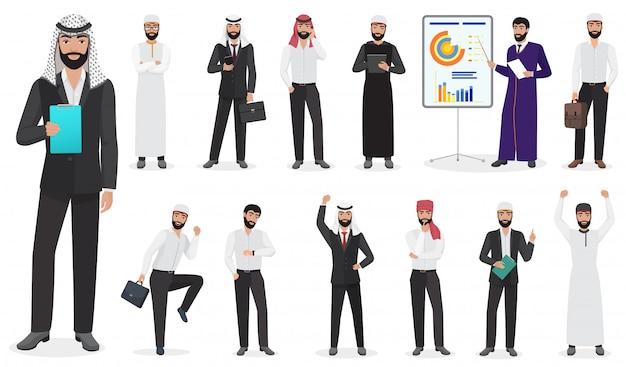 Poses de personagem de homem de negócios árabes Vetor Premium