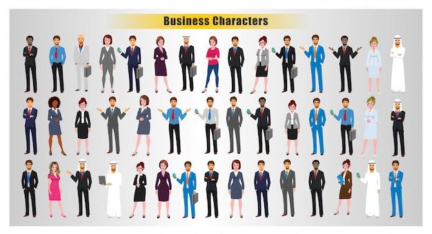 Poses de personagem de negócios do mundo Vetor Premium
