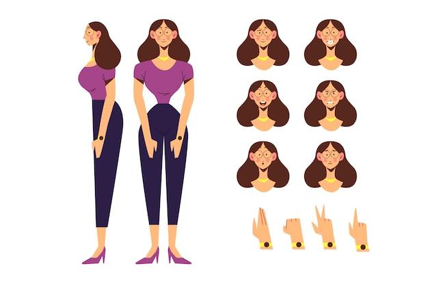 Poses de personagem feminina Vetor grátis