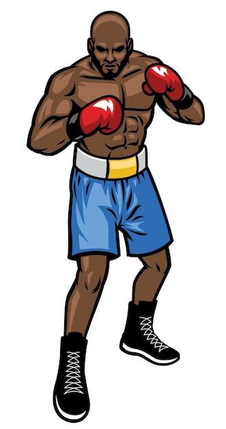 Posição do lutador de boxe Vetor Premium