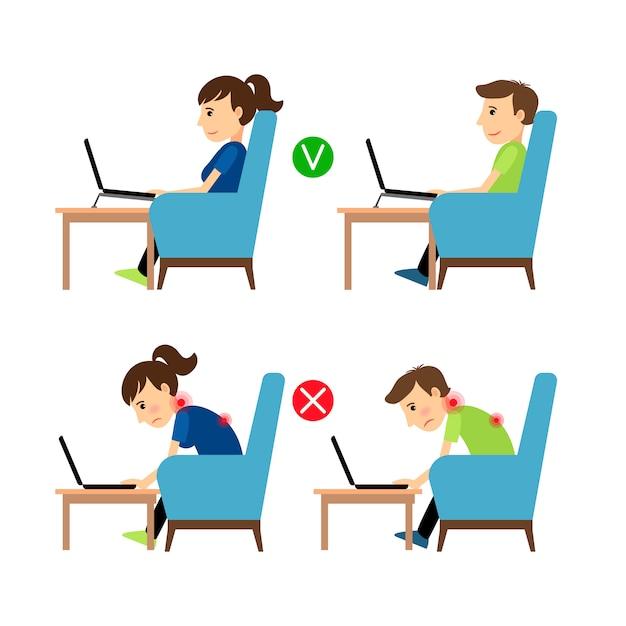 Posição incorreta e correta do laptop Vetor Premium