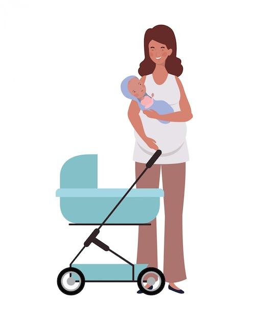 Posição mulher, com, um, bebê recém-nascido, em, carrinho criança Vetor Premium