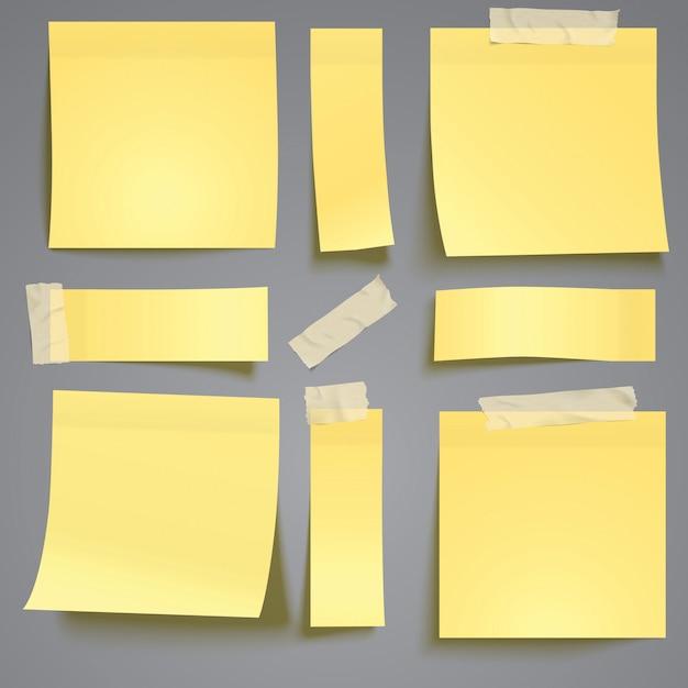 Post amarelo, note com fita adesiva Vetor Premium