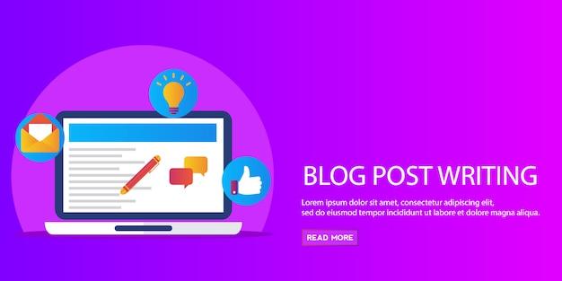Post de blog escrito, marketing de conteúdo, promoção, banner de vector plana de publicação de artigo Vetor Premium
