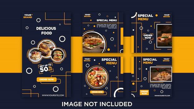 Post de feed de mídia social de comida deliciosa, modelo de banner Vetor Premium