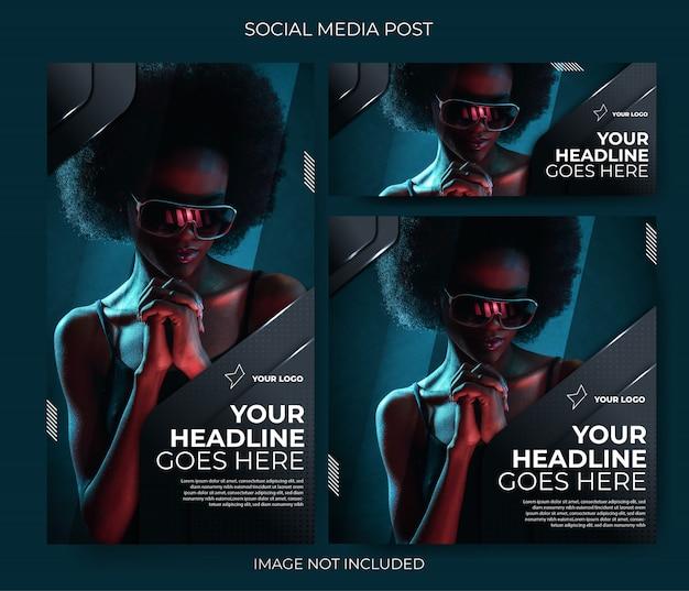 Post de feed do modelo de mídia social dark techno Vetor Premium