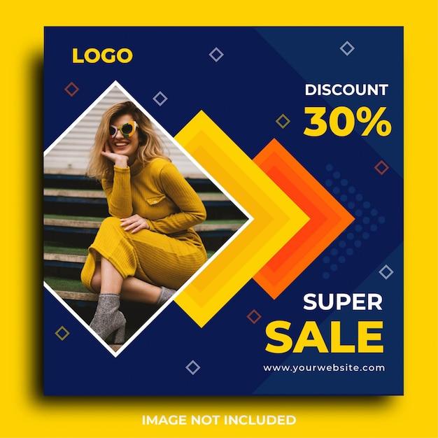 Post de instagram de promoção de venda ou modelo de banner quadrado Vetor Premium