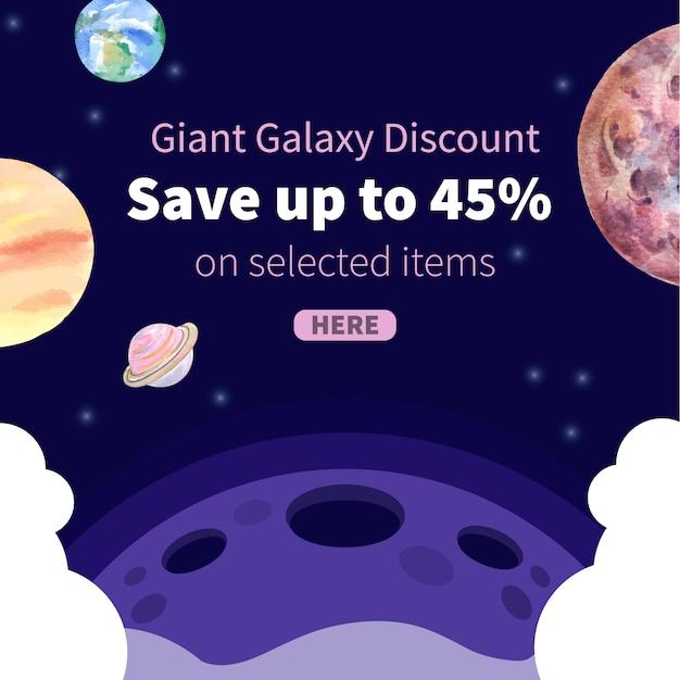 Post de mídia social da galáxia com ilustração em aquarela de planetas. Vetor grátis