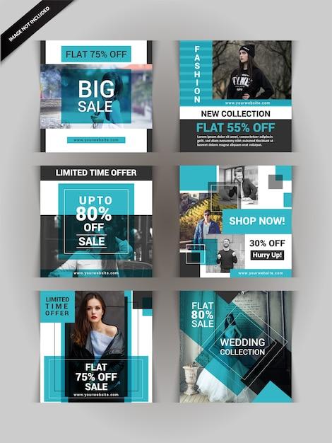 Post de mídia social de moda ou banner Vetor Premium