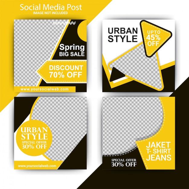 Post de mídia social de venda de moda Vetor Premium