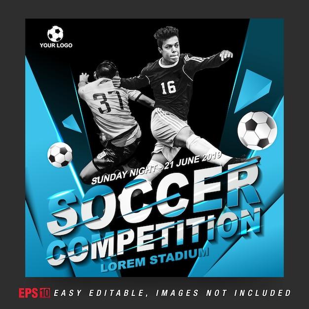 Post de mídia social para competição de futebol Vetor Premium