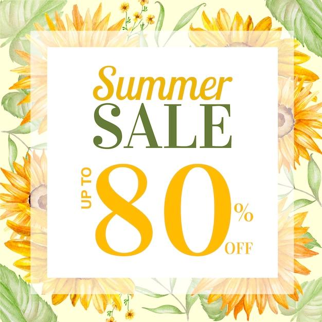 Post de venda de verão com decoração floral desenhados à mão Vetor Premium