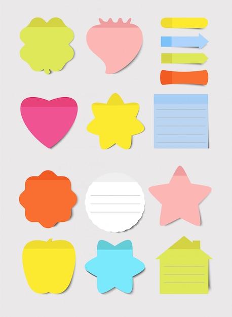 Post-it. conjunto de ilustrações. folha de papel em branco do bloco de notas para planejamento e programação. rodada, coração, formas quadradas cor lembretes vazios. coleção de notas de memorando. Vetor Premium