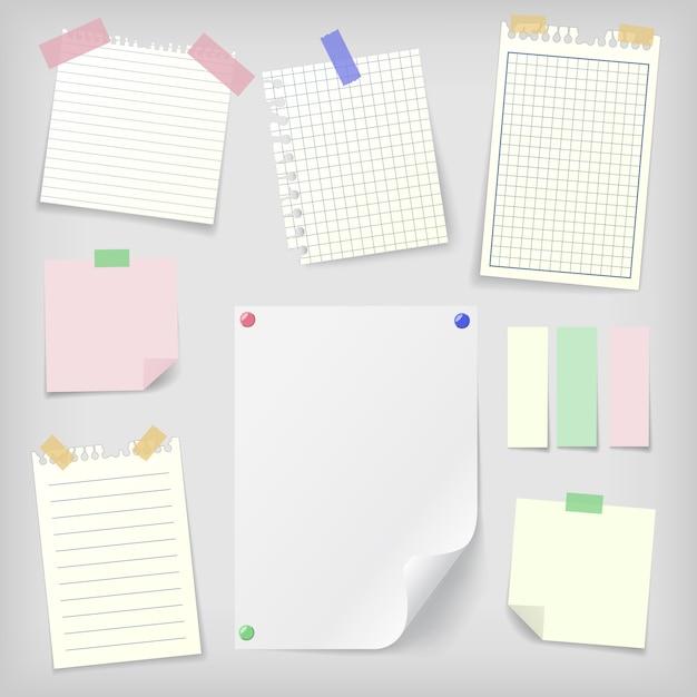 Post-it conjunto de notas auto-adesivas e papel de caderno Vetor Premium