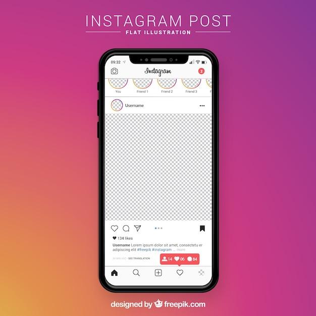 Post no instagram com fundo transparente Vetor grátis