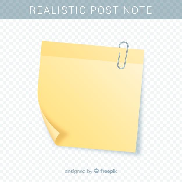 Post nota realista em fundo transparente Vetor grátis