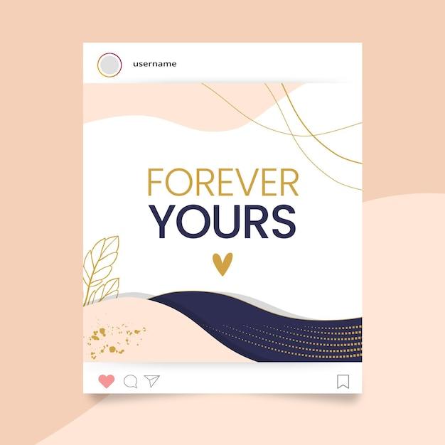 Postagem abstrata elegante do instagram do dia dos namorados Vetor grátis