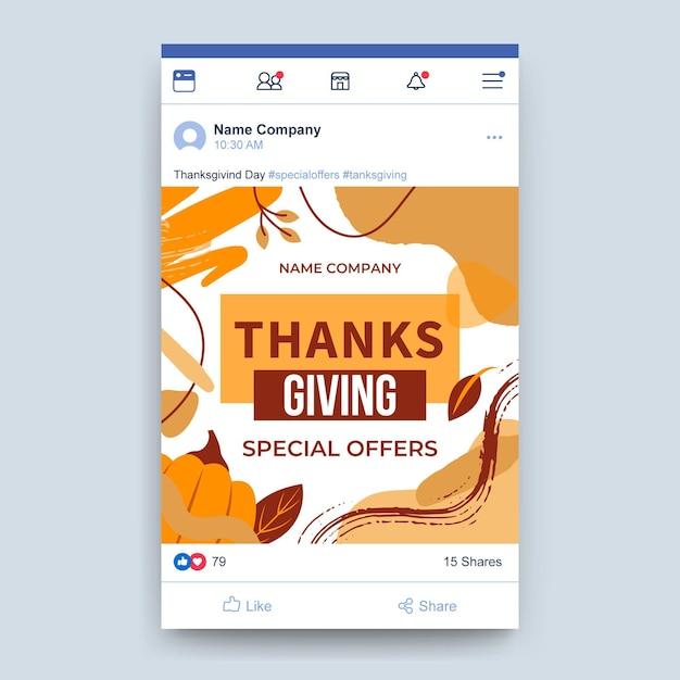Postagem de ação de graças no facebook Vetor grátis