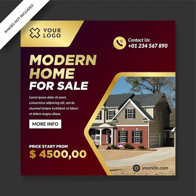 Postagem de casa moderna ouro vermelho escuro para venda Vetor Premium