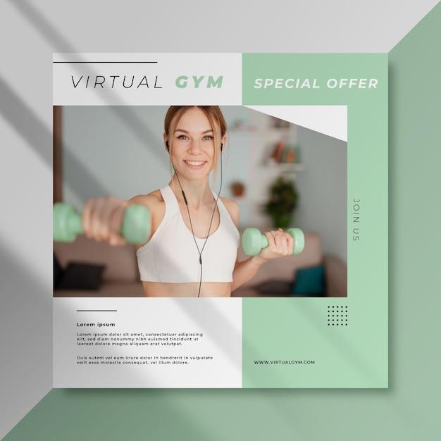 Postagem de esporte no facebook da academia virtual Vetor Premium