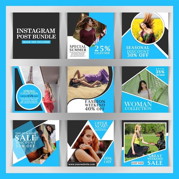 Postagem de instagram com desconto criativo Vetor Premium