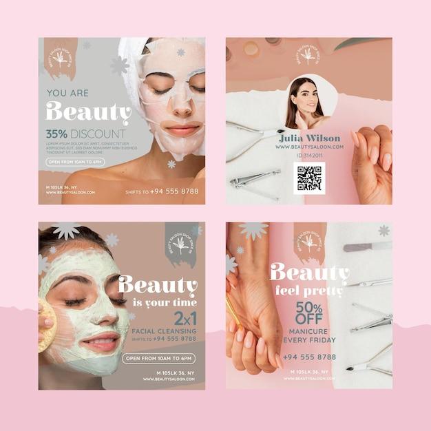 Postagem de instagram de salão de beleza e saúde Vetor grátis