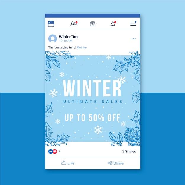 Postagem de inverno no facebook com flocos de neve Vetor grátis