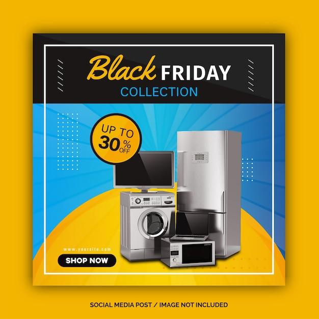 Postagem de mídia social da coleção black friday Vetor Premium