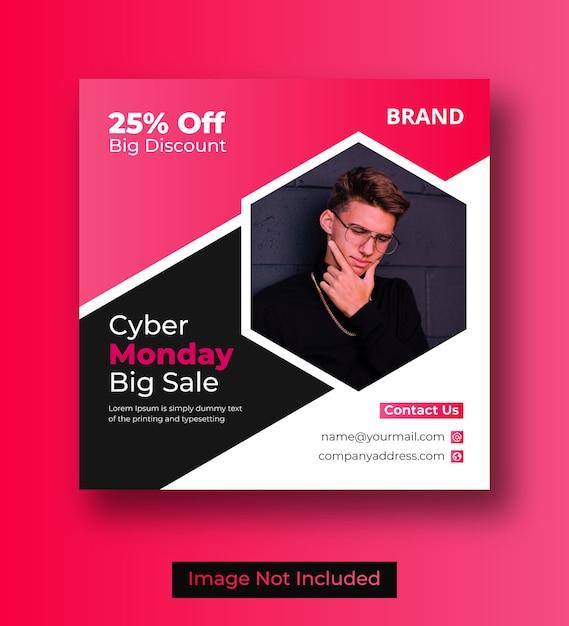Postagem de mídia social da cyber monday ou banner do instagram Vetor Premium