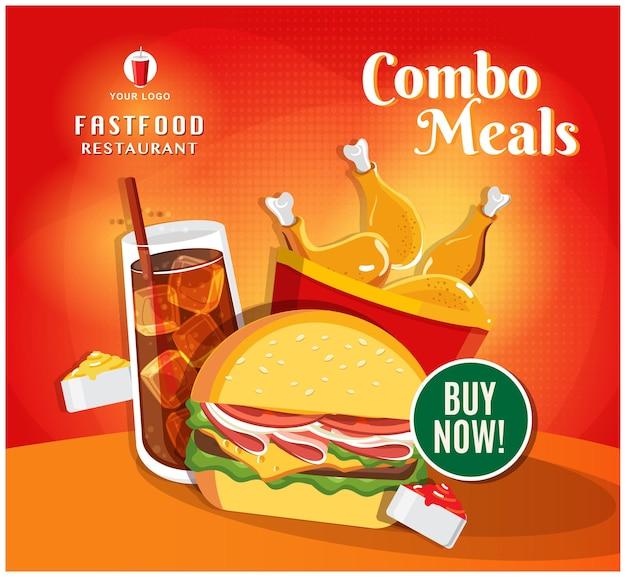 Postagem de mídia social de restaurante de banner de fast food Vetor Premium
