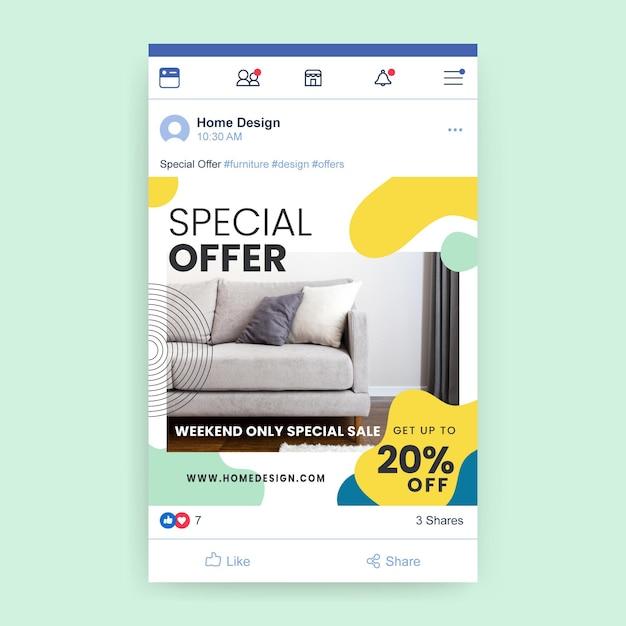 Postagem do facebook com design abstrato colorido Vetor grátis