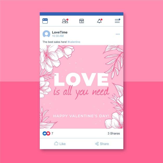 Postagem no facebook do dia dos namorados em monocolor floral Vetor grátis