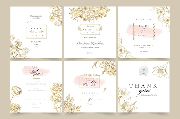 Postagens de instagram de casamento floral Vetor Premium