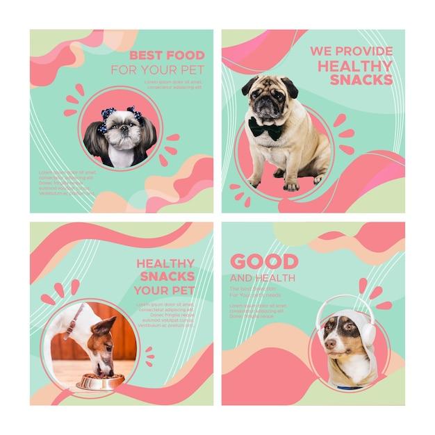 Postagens de instagram de comida animal Vetor Premium
