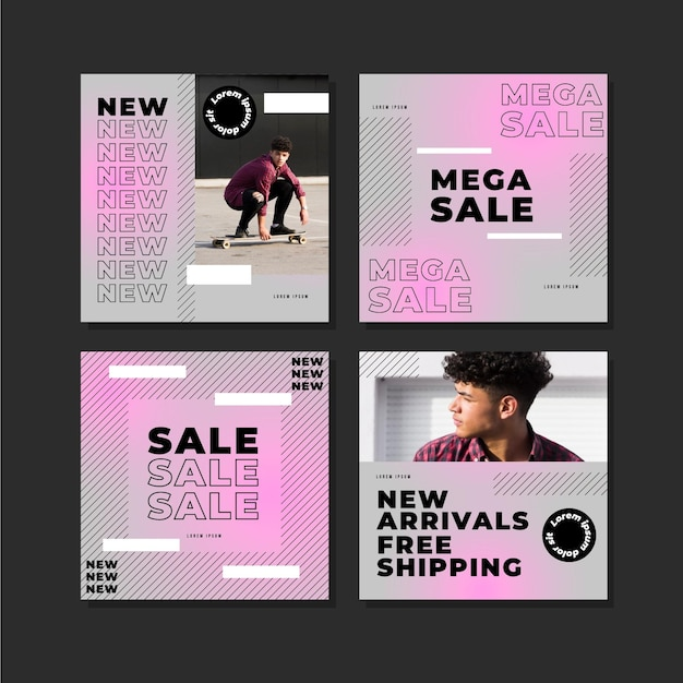 Postagens de instagram de venda gradiente Vetor grátis